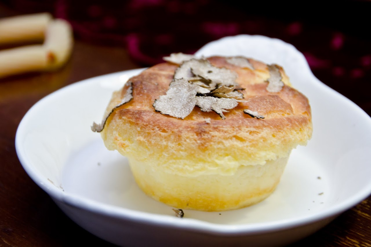 Truffles with cheese souffle