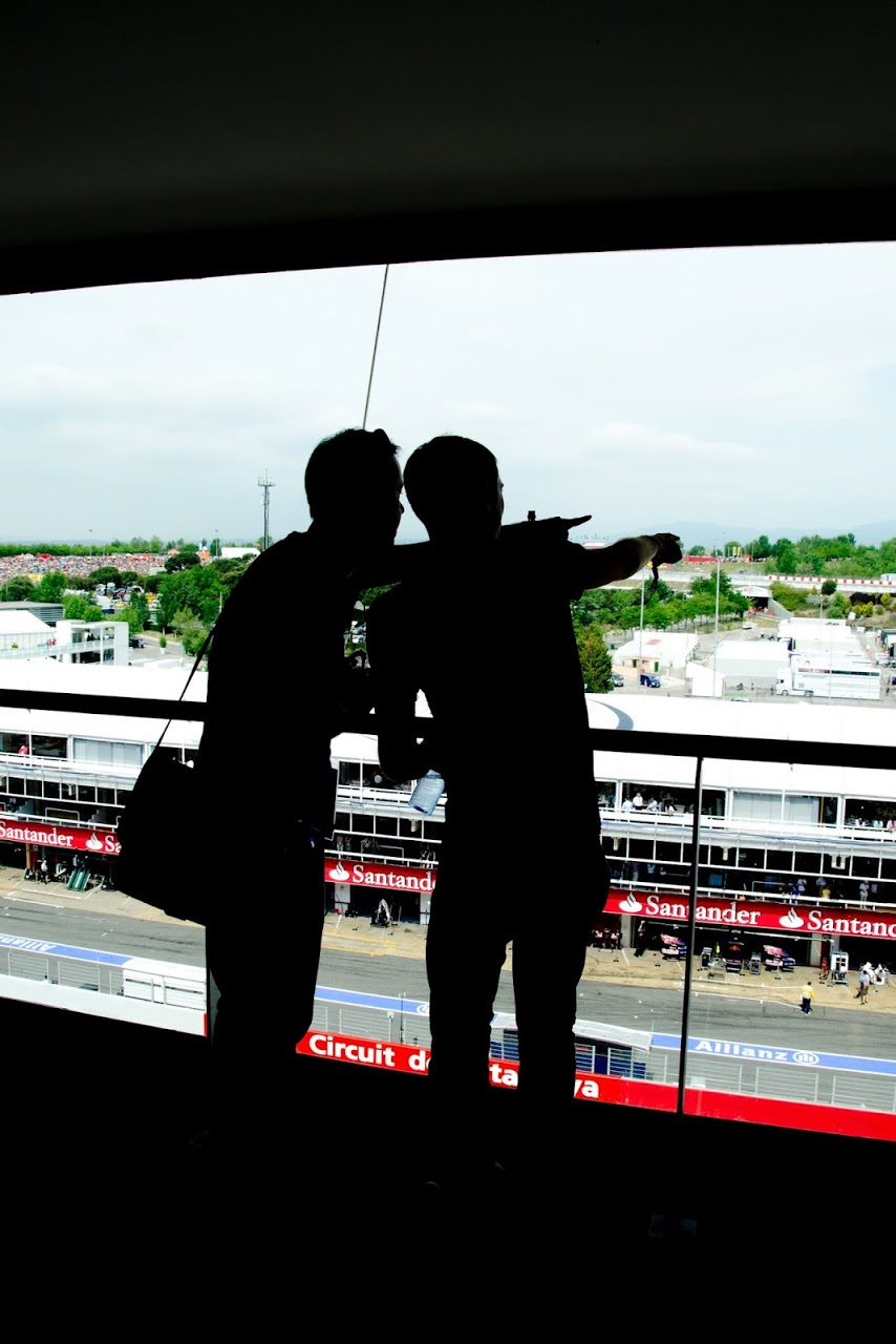 Standing in the press box at the Circuit de Catalunya