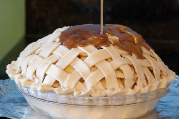 Caramel on top of Grandma Ople's Apple Pie