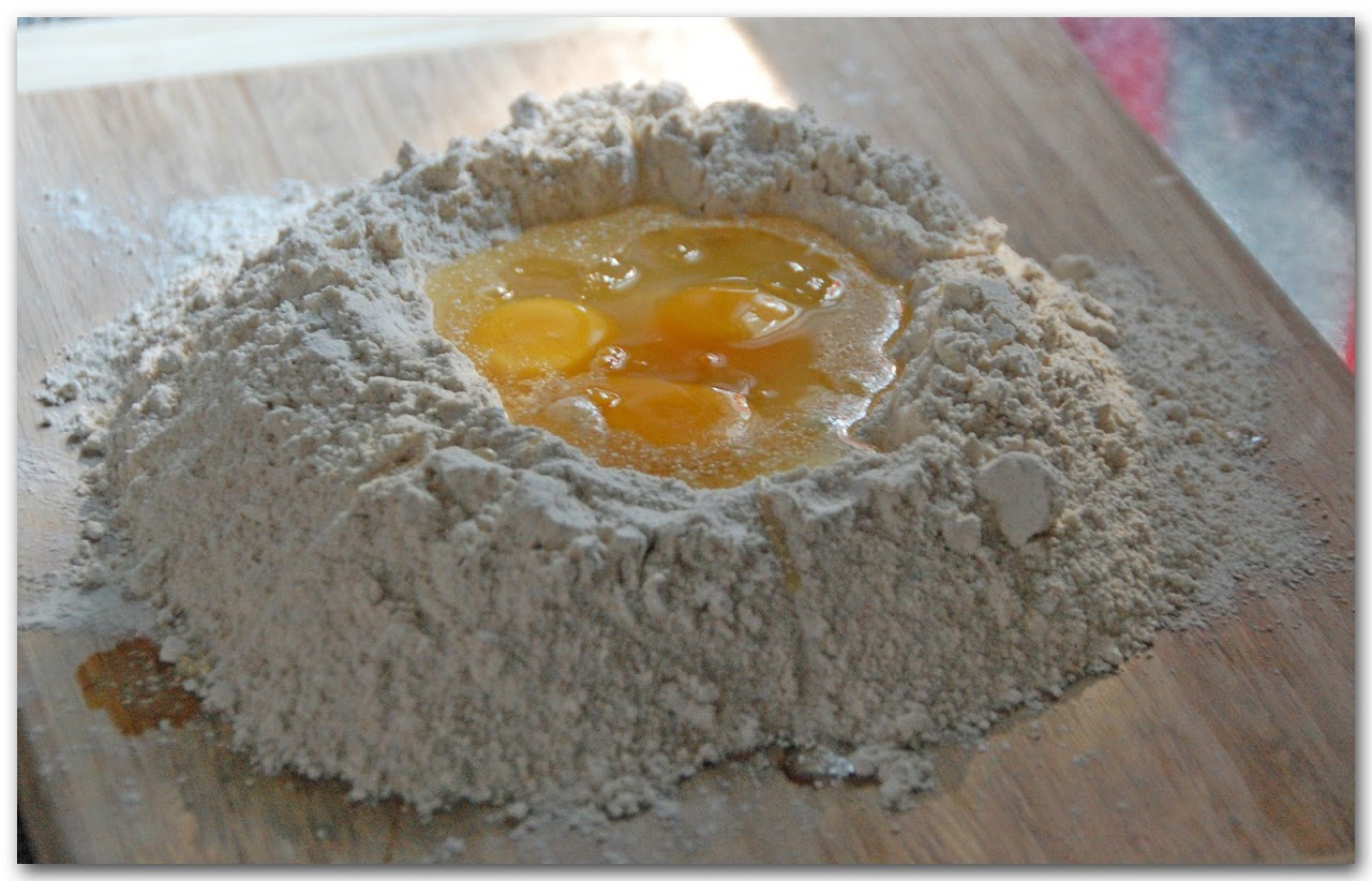 Eggs in flour mound