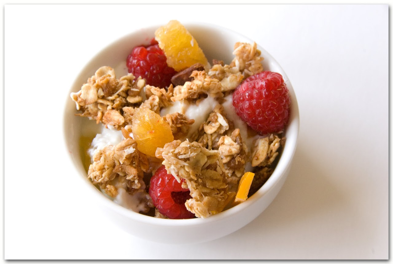 Tropical granola with yogurt and fruit
