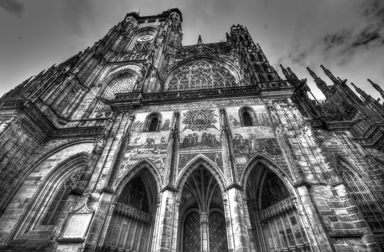 Prague church in black and white