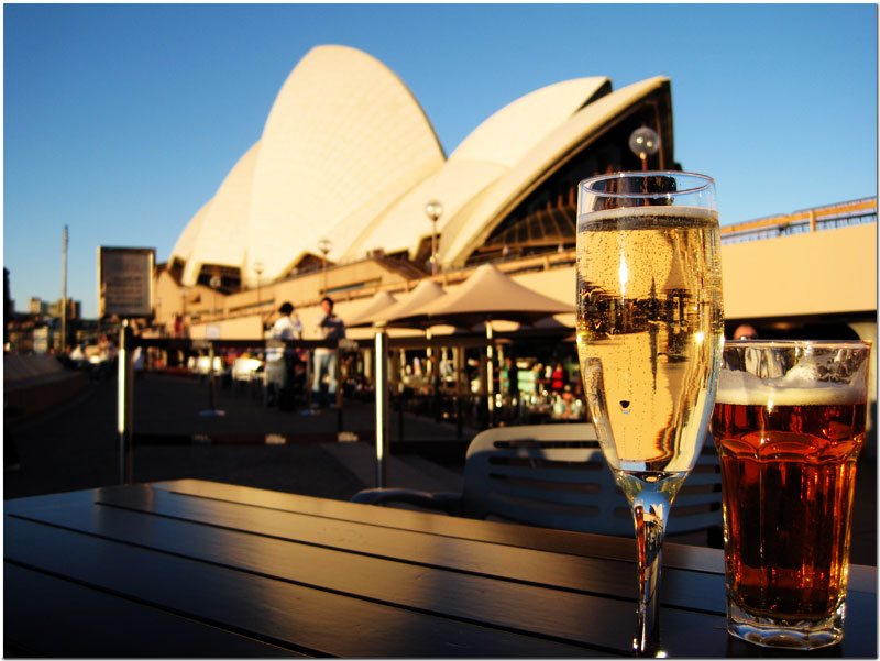 Drinks outside of Sydney Opera House