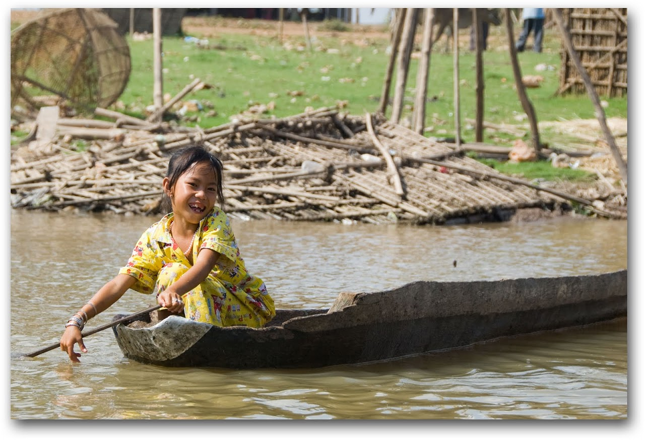 Girl on boat in Kompong Chhnang