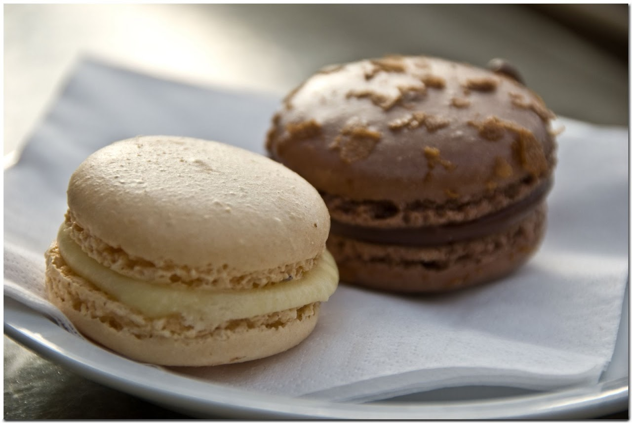 Hazelnut and champagne macarons at the Lindt cafe