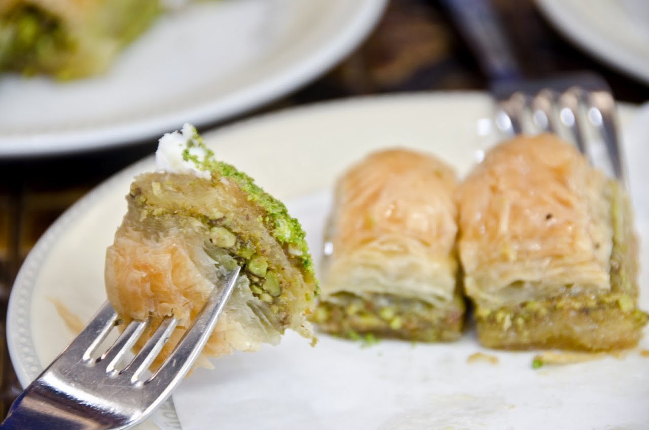 Baklava with fork