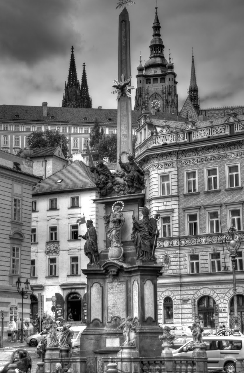Prague in black and white church